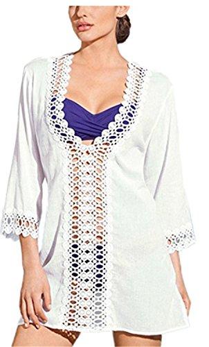 Camisola Mujer Bikini Cubierta Gasa Traje de baño YOGLY Vestido de Playa Verano Mangas Larga Suelto V-Cuello Camiseta Camisola y Pareos blanco