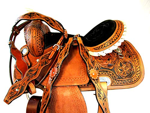(PRO Western 15 16 Rough Out Leather Trail Western Barrel Racing Saddle TACK Set (15))