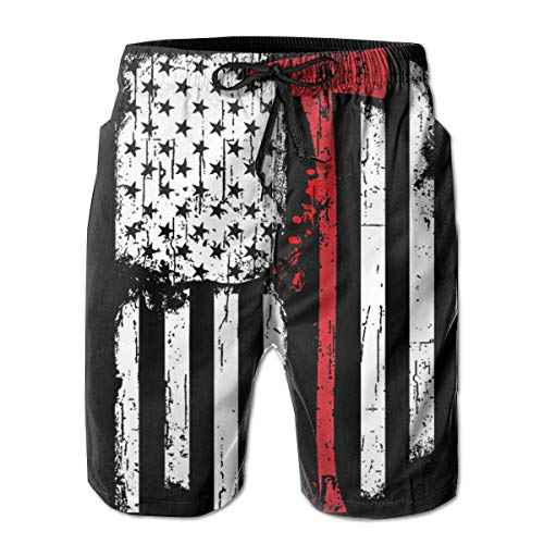 Firefighter Axe Red Line Flag Men's Quick Dry Drawstring Waist Swim Trunks Board Shorts with Mesh Lining M ()