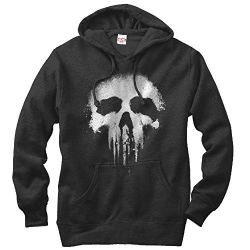 Fifth Sun Marvel Men's Punisher Skull Logo Black Hoodie