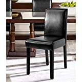 Set of 2 – Black Bonded Leather Side Parson Chair Wood Legs Cushion Seat and Back for Dining Room Accent Modern Chairs Review