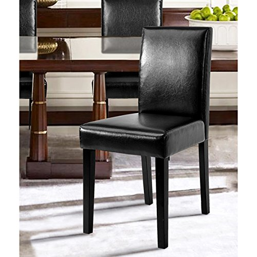 Set of 2 - Black Bonded Leather Side Parson Chair Wood Legs Cushion Seat and Back for Dining Room Accent Modern Chairs (Bonded Leather Parson Chair)