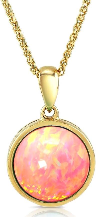 10k opals circle pendant