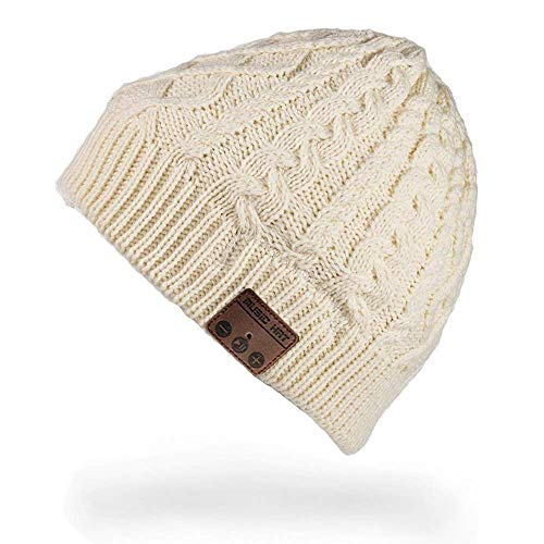 Momoday Unisex Wireless Music Hat Beanie with Stereo Headphone Speaker Hands-Free Talking Braiding Knitting Warm Winter for Fitness Outdoor Sports Walking Christmas Birthday Gifts (White)