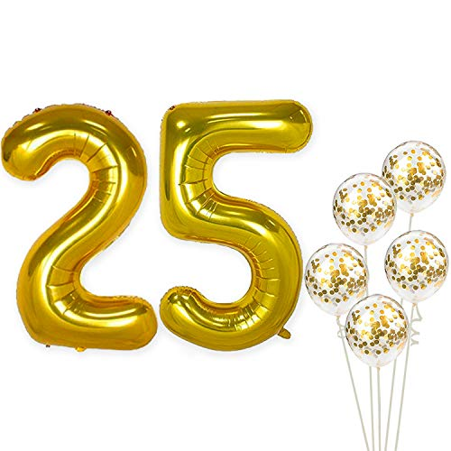 KatchOn Number 25 and Gold Confetti Balloons - Large, 40 Inch Foil Gold Balloons | 5 Gold Confetti Balloons, 12 Inch | 25th Birthday Party Decorations | Party Supplies for Anniversary Decor