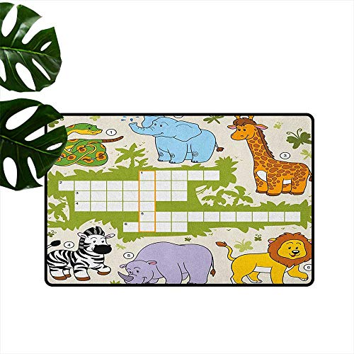 - RenteriaDecor Word Search Puzzle,Personalized Door mats Colorful Crossword Game for Children Wild Jungle Safari Animals Grid 36