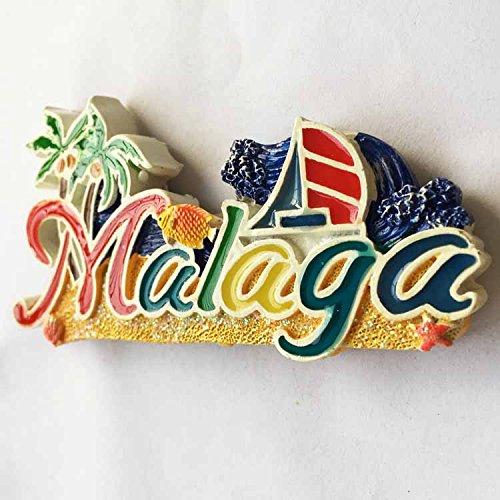 MUYU Magnet Málaga España 3D Imán de Nevera de Viaje Letras Estilo ...