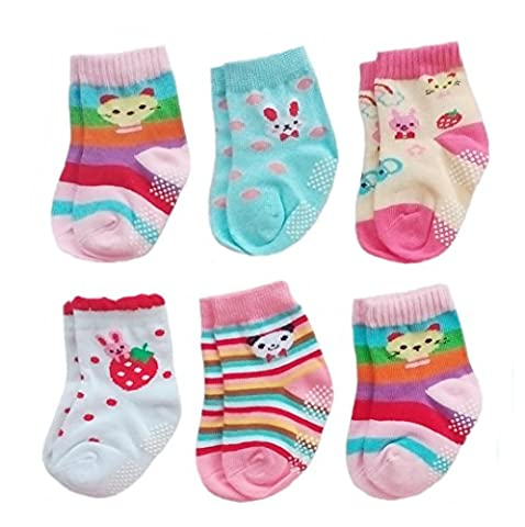 Deluxe Anti Non Skid Slip Slipper Crew Socks With Grips For Baby Toddler Girls (12-24 Months, 6-pairs/assorted)