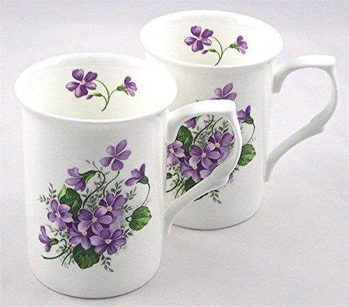 - Fine English Bone China Mugs - Set of Two - Wild Violet Spray Chintz