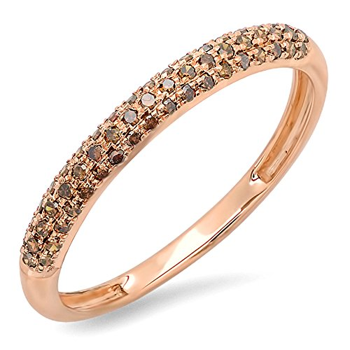 0.25 Carat (ctw) 14k Rose Gold Round Red Diamond Ladies Pave Anniversary Wedding Band Stackable Ring 1/4 CT (Size (0.25 Ct Round Rose)