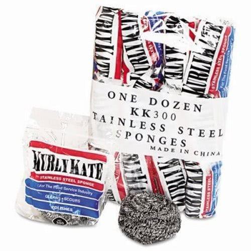 Loren PUR 300 Medium Kurly Kate Stainless Steel Sponge (Case of 12 Packs, 12 per Pack)