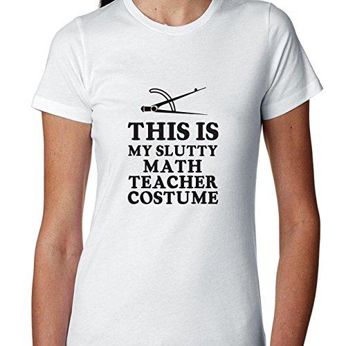 College Slutty Halloween (Funny This Is My Slutty Math Teacher Costume - Women's T-Shirt)