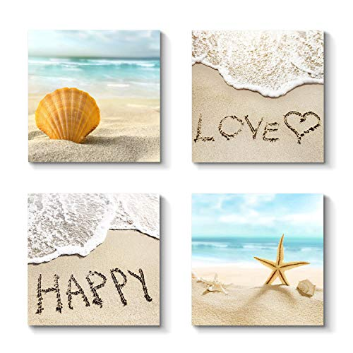 Grander Group Beach Love Canvas Picture Artwork - Starfish & Seashell Painting Wall Art Print on Canvas for Bedrooms (12'' x 12'' x 4 Panels)