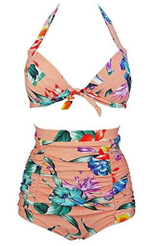 - SISSIJOE Retro 50s Black Pink Blue Tie Front Floral Halter High Waist Bikini Set Halter Carnival Swimsuit Hibiscus Pink XXX-Large