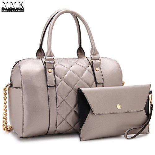 Leather Kelly Purse Handbag (MMK Collection Fashion Satchel handbag~(7566/7370) Soft/Patent Vegan Leather~Beautiful Designer Purse~Perfect Shoulder Bag~Fashion handbag Set for Women(Matching Wallet Set 7566 Pewter))