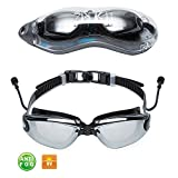 Swim Goggles,Mirrored Swimming Goggles No Leaking Anti Fog Shatterproof UV Protection for Men Women Youth Kids Child-Best Adult Swim Goggles with Ear Plugs and Protection Case,Black