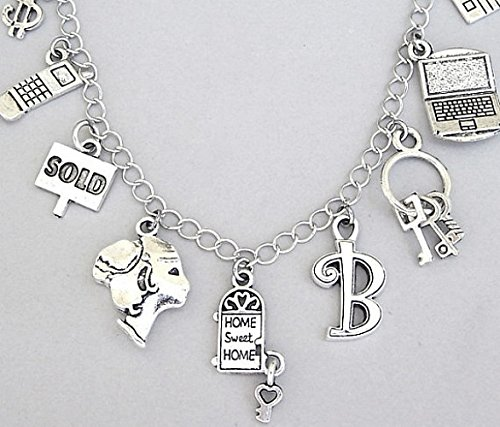 Personalized realtor bracelet or necklace with themed charms and custom initial (Themed College Parties)