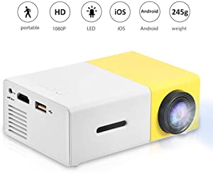 Mini Projector, Portable 1080P LED Projector Home Cinema Theater Movie Projectors Support HDMI / AV / USB / Memory Card Input Great Gift Pocket Projector for Party and Camping (Yellow-1)