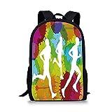 Fitness 12' Baby Toddler Kids 3D Print Canvas Backpack,Runners Silhouettes on Watercolor Splashes Jogging Outdoors Sportsman Marathon Decorative Schoolbag Shoulder Bag for Kindergarten Multicolor