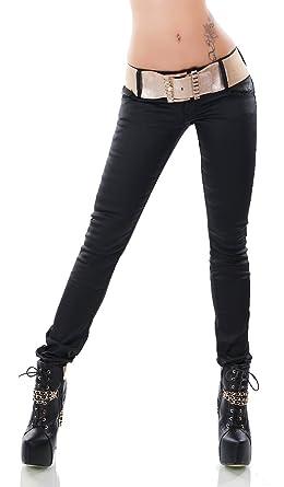 Trendstylez Damen Slim Fit Röhren-Jeans Kunstlederhose Wetlook mit Gürtel  schwarz R1800 Größe 40 e62b087df4