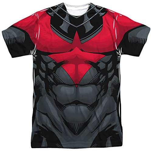 Batman Franchise Nightwing Muscular Red Uniform Adult Front/Back Print T-Shirt at Gotham City Store