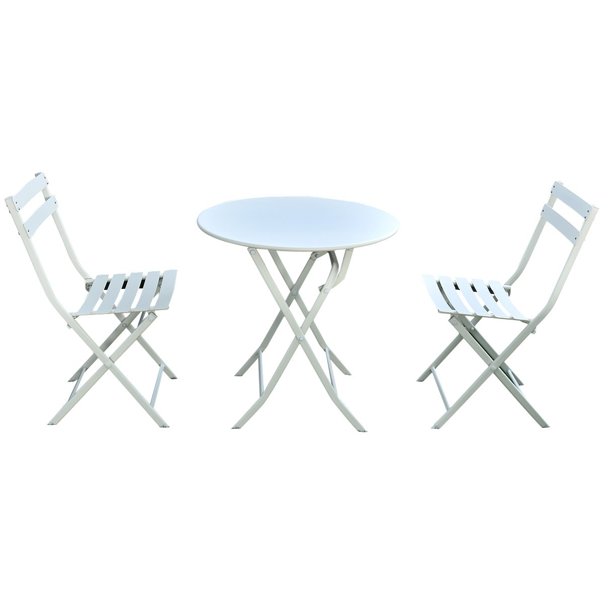 Giantex 3 PC Folding Bistro-Style Patio Table and Chair Set Outdoor Patio Garden Pool Backyard Furniture(White)