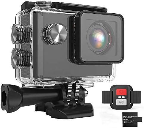 アクションカメラ 防水170度スポーツDVスポーツカメラ2インチ20MP WIFIリモートコントロール スポーツカメラ (Color : Black, Size : One size)