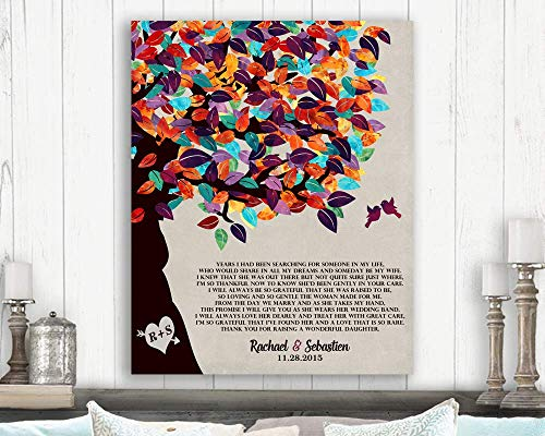Mother of Bride Gift, Bride's Parents Gift, Gift From Groom, Thank You Poem, Colorful Tree, Wedding Thank You Custom Art Print #LT-1170 Paper Print