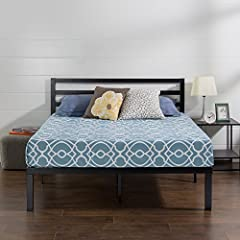 The steel framed Zinus Luis quick lock platform bed frame with headboard features steel slats that provide strong support for your memory foam, Hybrid, or spring mattress. This platform bed is 14 inches high with clearance under the frame for...