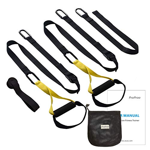 ProProo Bodyweight Resistance Trainer Fitness Straps with Exercise Guide Poster