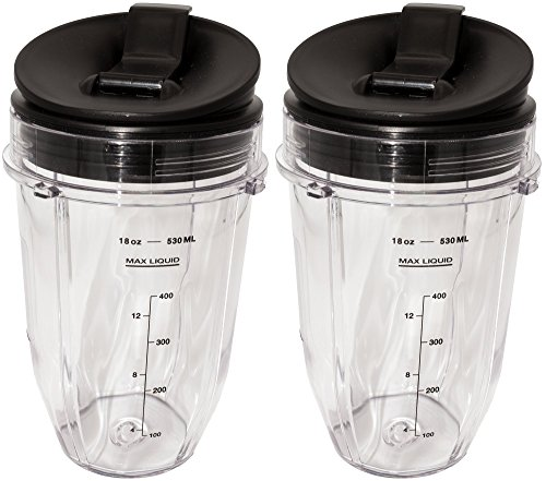Blendin 2 Pack Small 18 Ounce Cup with Sip N Seal Flip Lids, Fits Nutri Ninja Auto-iQ 1000w Series Blenders