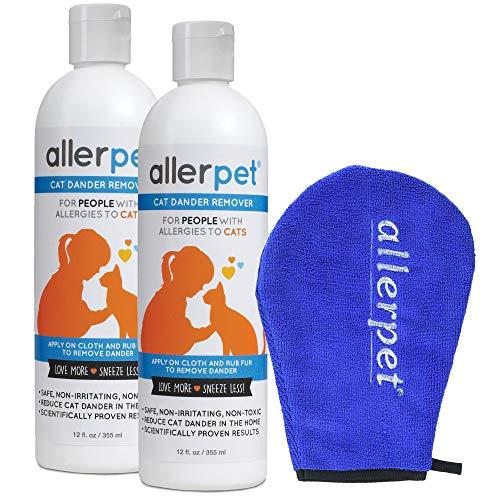 Allerpet 2-Pack Cat Pet Dander Remover - Ditch Allergy Shampoo & Deshedding Tools Gives Best Allergen Relief, 100% Non-Toxic & Safe for Pets, Good for Fur & Skin + Bonus Applicator Mitt