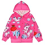 LQSZ Girls Unicorn Jacket Coats Hoodie Sweatshirt with Pockets 3-8Y Pink Rose