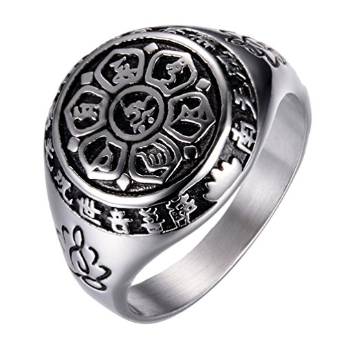 Rinspyre Men's Exorcism Protection Stainless Steel Ring Holy Frame Om Mani Padme Hum Buddhist Prayer Band Silver Size 12 -