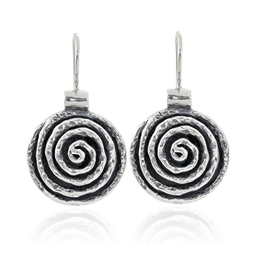 Spiral Design Solid 925 Sterling Silver Round Swirl Earrings with Secure Backs Wire and Hook ()