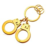 Cool Handcuffs Key Tag Alloy Keyrings Men Car Key Rings (Gold)