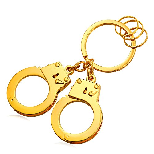 Cool Handcuffs Key Tag Alloy Keyrings Men Car Key Rings (Gold) by U7