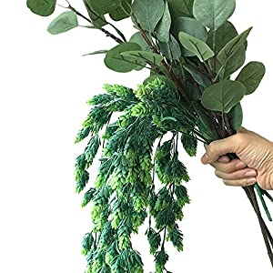 """Aisamco 3 Pcs Artificial Hops Flower Vine Garland Plant Fake Hanging Vine Hops Faux Hops Artificial Hanging Plants in Frosted Green 29.5"""" in Length for Indoor Outdoor Front Porch Flower Decor 3"""