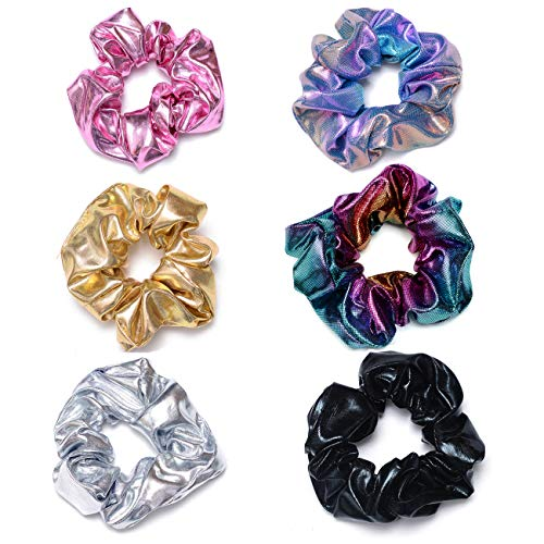 ACCGLORY Shiny Scrunchies Metallic Hair Bands Elastic Hair Ties Set Glitter Ponytail Holder Soft Scrunchy for Women and Girls(6 Pack Hair Scrunchies)