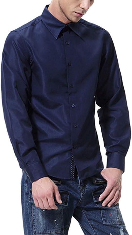 Camisa de Seda Hombres Satinado Suave Hombres Solido Negocio Chemise de Vestir de Manga Larga Slim Fit Homme Camisa de Esmoquin: Amazon.es: Ropa y accesorios
