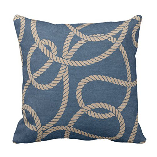 Emvency Throw Pillow Cover Cowboy Rope Pattern In Blue Decorative Pillow Case Western Home Decor Square 18 x 18 Inch Cushion Pillowcase