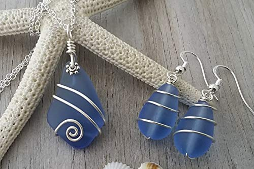 (Handmade in Hawaii,Wire wrapped light sapphire sea glass necklace + earrings jewelry set, sterling silver chain, Hawaiian Gift, FREE gift wrap, FREE gift message, FREE shipping)