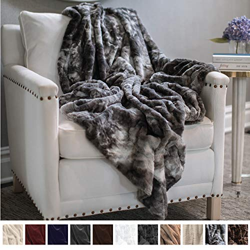 The Connecticut Home Company Original Luxury Faux Fur Throw Blanket, Soft, Large Plush Reversible Blankets, Warm & Hypoallergenic Throws for Couch or Bed, Washable, Microfiber 65 x 50 (Gray Fur)