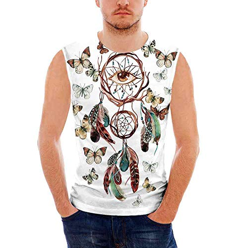 iPrint Mens Sleeveless Feather T- Shirt,Dreamcatcher with Butterflies and All Seeing Ey -