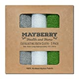 (US) Extra Long (36 Inches) Exfoliating Bath Cloth / Towel (3 Pack) Gray, White, and Green Nylon Bath Cloth / Towel, Stitching on All Sides for Added Durability