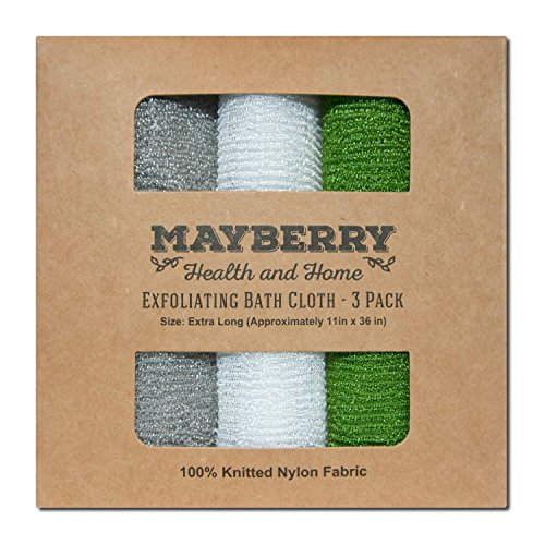 Extra Long (36 Inches) Exfoliating Bath Cloth/Towel (3 Pack) Gray, White, and Green Nylon Bath Cloth/Towel, Stitching on All Sides for Added Durability ()
