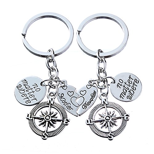 2pcs Mother Daughter Key Chain Set No Matter Where Compass Split Broken Heart Family Gift for Women Girl (Style A)