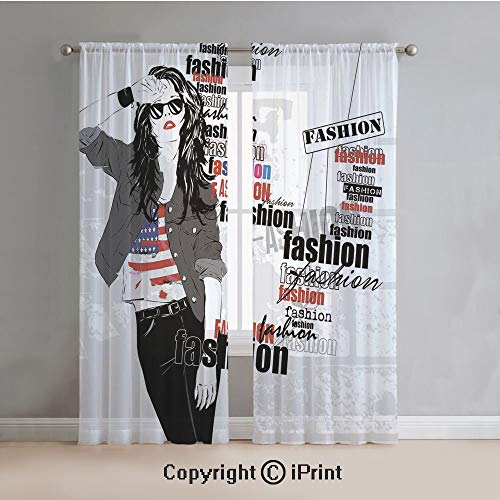 Fashion House Decor Sheer Curtains Window Voile,A Modern Girl with USA Flag Tshirt Colorful Thema Beauty in Street,for Bedroom,Living Room,Kitchen,2 Panels Set,54x96Inches,Black White ()
