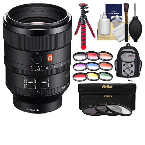 Sony Alpha E-Mount FE 100mm f/2.8 STF GM OSS Lens with Backpack + 3 UV/CPL/ND8 & 9 Colored Filters + Tripod + Kit by Sony
