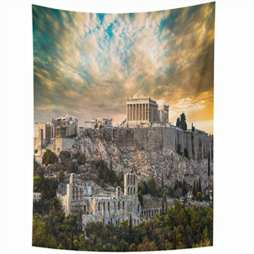 - Ahawoso Tapestry 50x60 Inches Luxury Blue Ancient Parthenon Acropolis Athens Antique Under Dramatic Sunset Sky Greece Wall Hanging Home Decor Tapestries for Living Room Bedroom Dorm